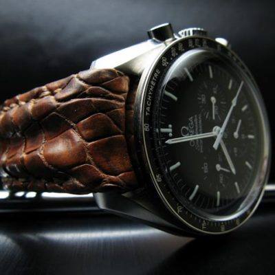 Double-ridged croc strap for vintage Omega watch